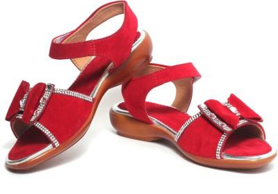 Craze Shop Girls Red, Silver Sandals