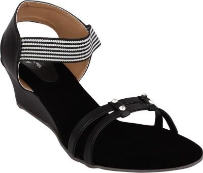 Hirafashionwear Women Black Wedges