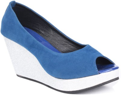 Soft & Sleek 1349 Blue Women Blue Wedges