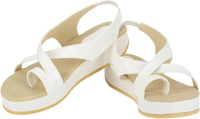 Zio Star Women Beige, White Wedges