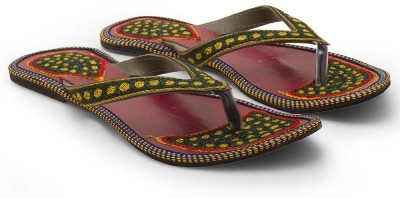 Tradition India Girls Green Flats