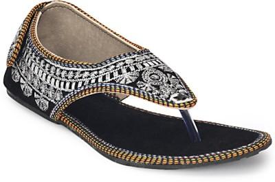 Paduki Ethnic Footwear Women Black, Silver Flats