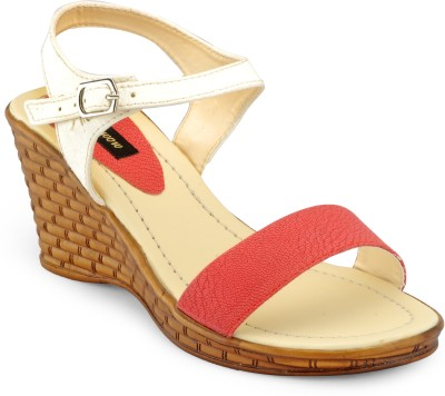 Just Wow Women Brown, White, Red Wedges