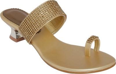 Shoe Bazar Women Gold Heels