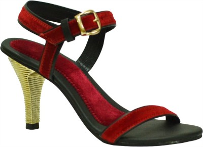 With The Fashion Women Red, Black Heels