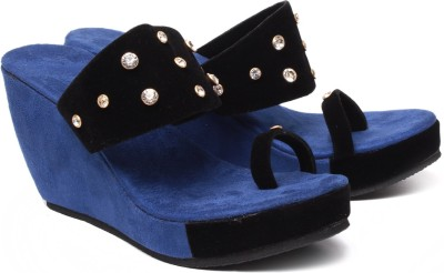 Monaliza Women Blue, Black Wedges