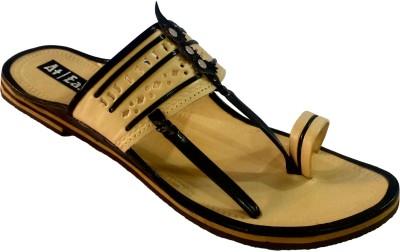 Atease Kolhapuri Men Black Sandals