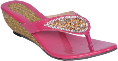 Roop Style Women Pink Wedges