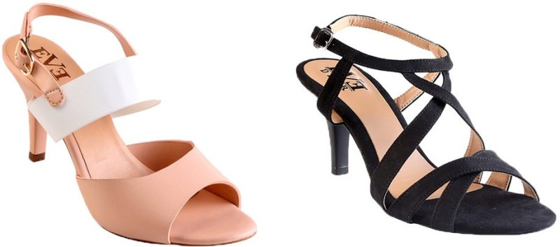 Eve Dior Women Black Pink Heels