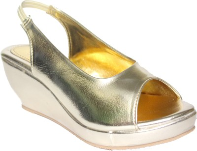 9SPACE Women Gold Wedges