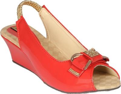 Sporch Women Red Wedges