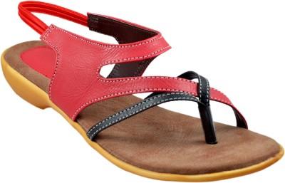 Sahebji Women Red, Black Sandals
