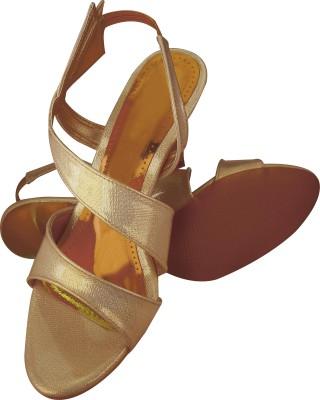 Spazzio Women Gold, Beige Heels
