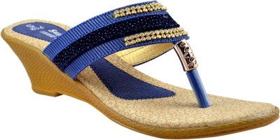 Supreme Leather Women Blue Wedges