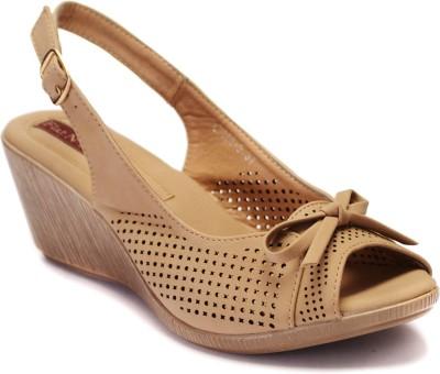 Flat n Heels Women Khaki Wedges
