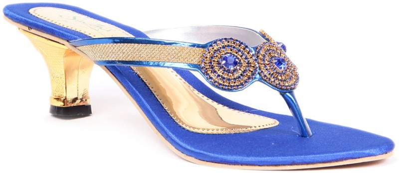 Sindhi Footwear Ethnic Women Blue Heels