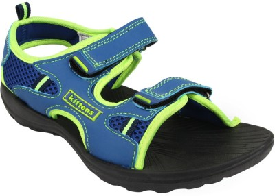 Kittens Boys Blue, Green Sports Sandals