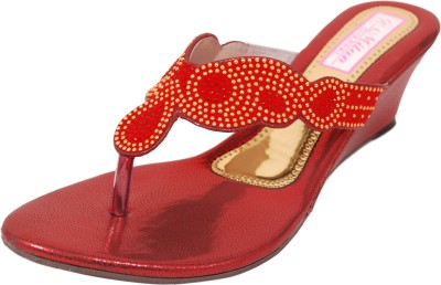 Milan Chappal Women Red, Gold Wedges
