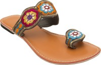 Footrendz Women Brown::Maroon; yellow; blue; orange Flats