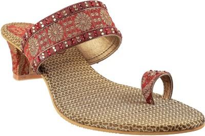 Mochi Fancy Women Maroon Heels