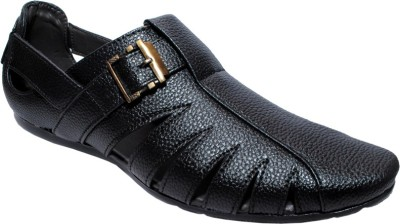Dot-9 Men Black Sandals