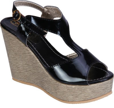 Fashion Mafia Women Black Wedges