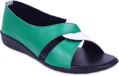 Fabme Sober Women Green Flats