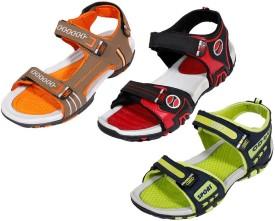 Indishoes Men Orange::Red::Green Sandals