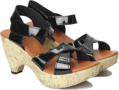 Nell Women BLACK Wedges at flipkart