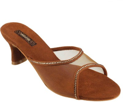 Mochi Women Gold, Brown Heels
