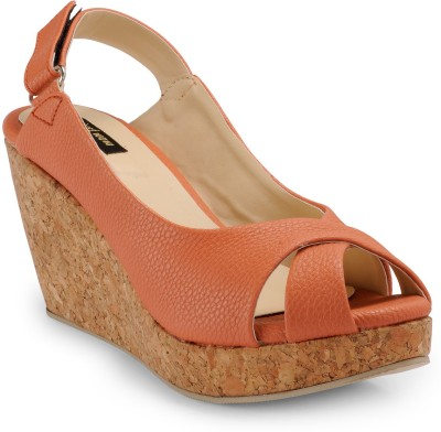 Just Wow Women Red, Brown Wedges