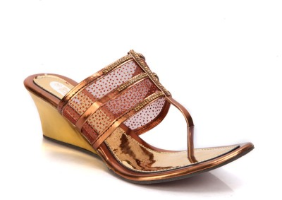 Laila Collections 808 Women Brown Wedges