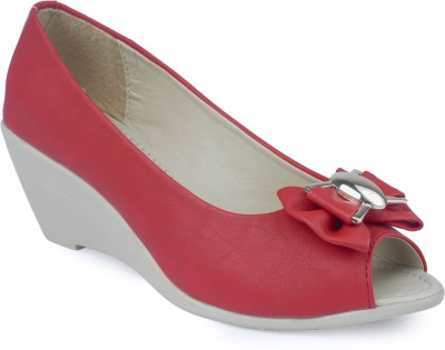 Niremo Women Red Wedges