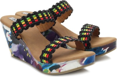 Bonjour Women Multicolor, Yellow, Black, Red, Green Wedges