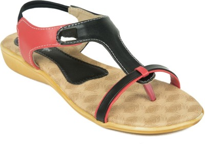 Adjoin Steps Women Black, Red Flats