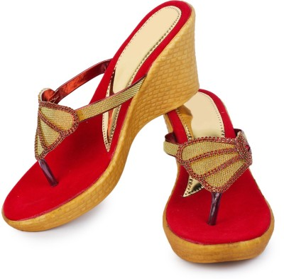 London Steps Women Red Wedges