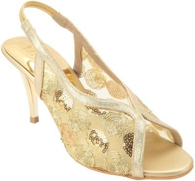 Wet Blue Women Gold Heels