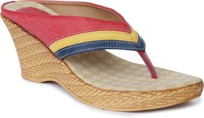 Vilax Women Pink, Yellow, Blue Wedges