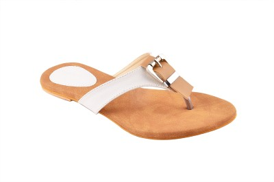 CloverInc Women White, Beige Flats