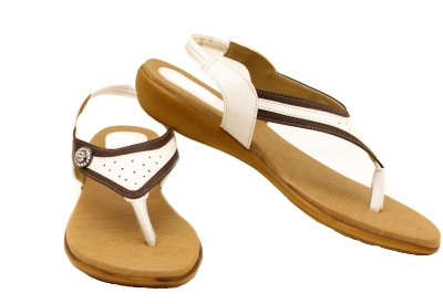 Canvera Women White, Brown Flats