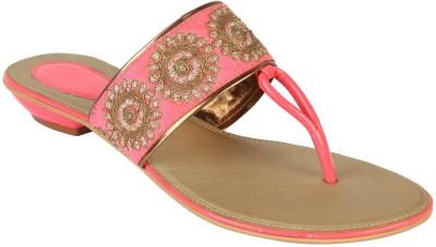 Charu- Diva Design Studio Women Pink, Gold Flats