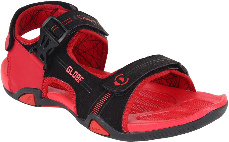 Campus Men Black Orange Sandals