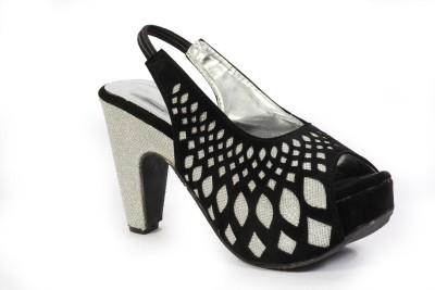 Fabme Women Silver, Black Heels