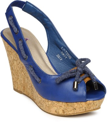 Mast & Harbour Women Blue Wedges at flipkart