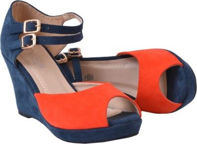 Pinellii Women Orange, Navy Wedges