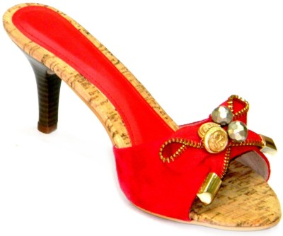 Celebrity Stylish Party and Office Wear Girls Red, Gold Heels