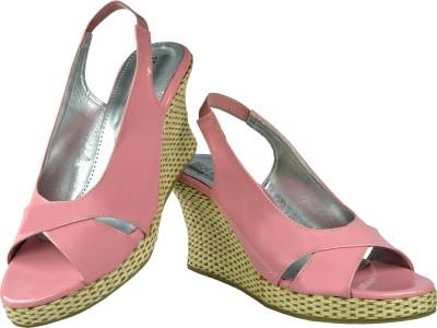 Leatherworld Women Pink Wedges
