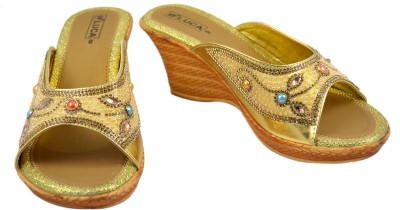 Luca Fashion Women Gold Wedges