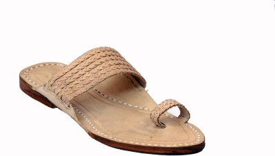 Traditional Kolhapuri Men Khaki Sandals