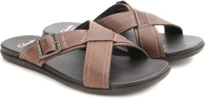 Clarks Valor Slide Tan Leather Men Brown Sandals